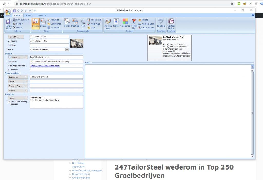 vCard Bedrijfsprofiel | ABC Handel en Industrie.nl